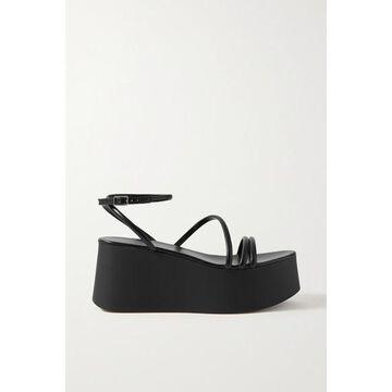 Gianvito Rossi - 80 Leather Platform Sandals - Black