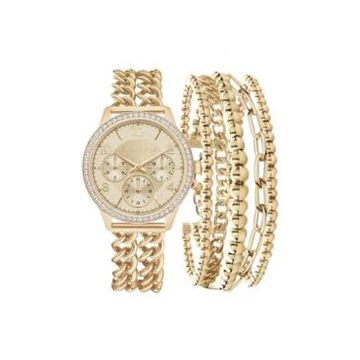 Women's Kendall + Kylie Double Gold Tone Stainless Steel Strap Analog Watch and Layered Bracelet Set 40mm