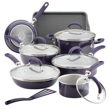 Rachael Ray 13 Pc Create Delicious Aluminum Nonstick Cookware Set, Purple Shimmer