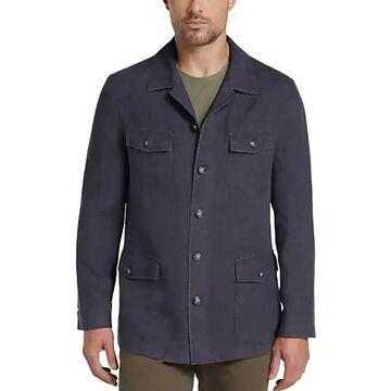 Joseph Abboud Men's Navy Linen Modern Fit Casual Coat - Size: Medium