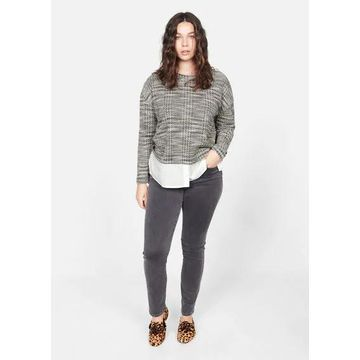 Violeta BY MANGO - Mixed cotton sweatshirt grey - XL - Plus sizes