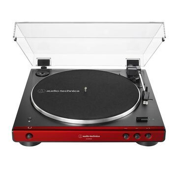 Audio-Technica AT-LP60XBT Fully Automatic Wireless Belt-Drive Turntable in Red
