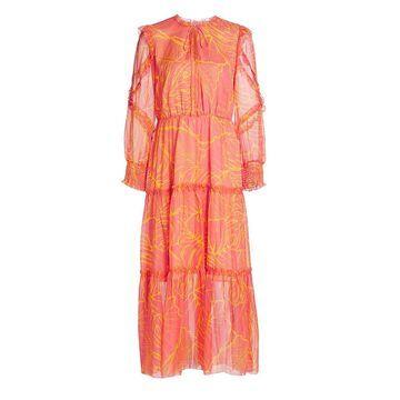 Marchesa Notte Printed Tulle Midi Dress