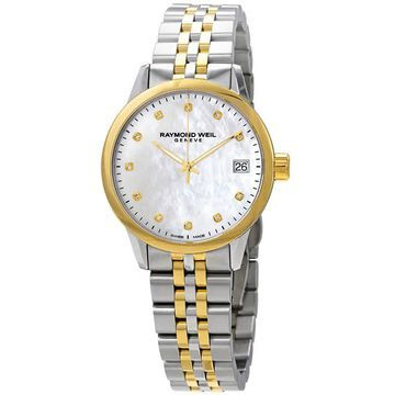 Raymond Weil Freelancer Mother of Pearl Diamond Dial Ladies Two Tone Watch 5634-STP-97081