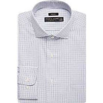 Pronto Uomo Teal & Blue Grid Dress Shirt