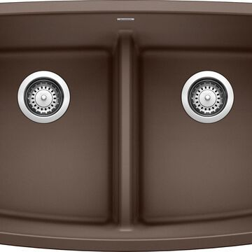 BLANCO Valea Undermount 32-in x 19-in Cafe Brown Double Equal Bowl Kitchen Sink   442203