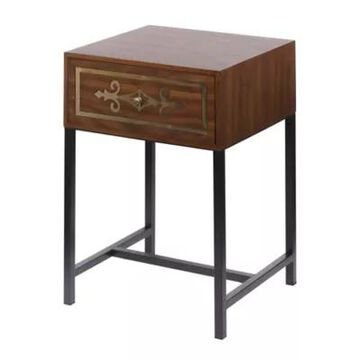 A&B Home Raj Chest 1-Drawer Side Table In Brown