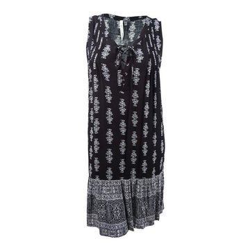 NY Collection Women's Plus Size Printed Tie-Front Shift Dress - Black Besuco