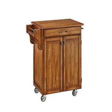 Home Styles Cuisine Cart Warm Oak Finish with Oak Top