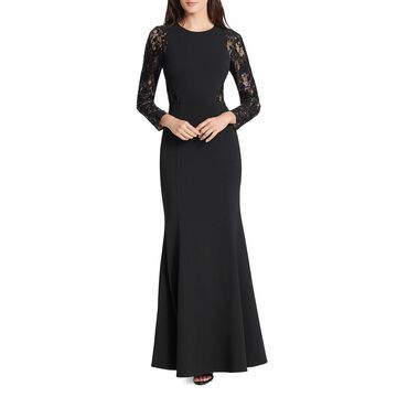 Eliza J Womens Lace Sequined Evening Dress