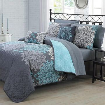 Avondale Manor Amber Quilt Set with Coordinating Throw Pillows, Turquoise/Blue, Queen