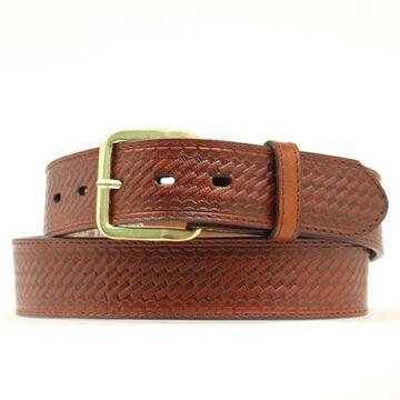 N1012002-44 Basketweave Embossed Leather Belt, Brown - Size 44