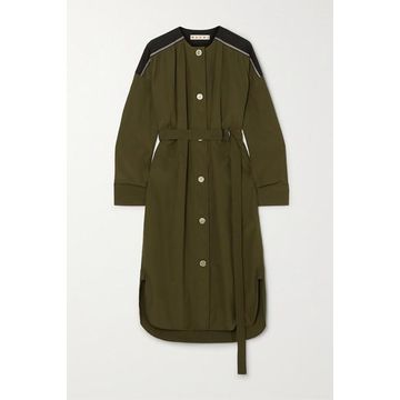 Marni - Belted Cotton-poplin Midi Dress - Army green
