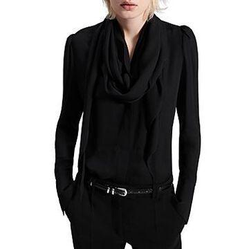 Barbara Bui Silk Charmeuse Bow Shirt