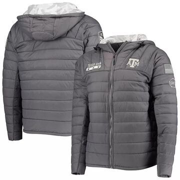 Men's Colosseum Gray/Camo Texas A&M Aggies OHT Military Appreciation Iceman Snow Puffer Full-Zip Hoodie Jacket, Size: Large, TAM Grey