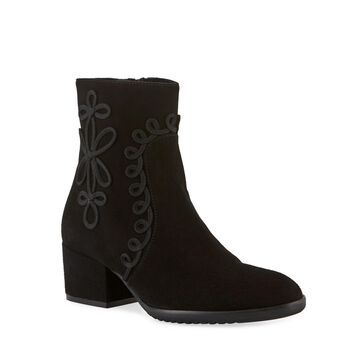 Fathom Embroidered Suede Booties, Black