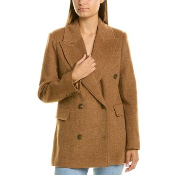 Avec Les Filles Double-Breasted Wool-Blend Coat