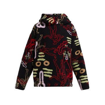 Aries - Cerne Giant Printed Hooded Fleece - Womens - Black Multi