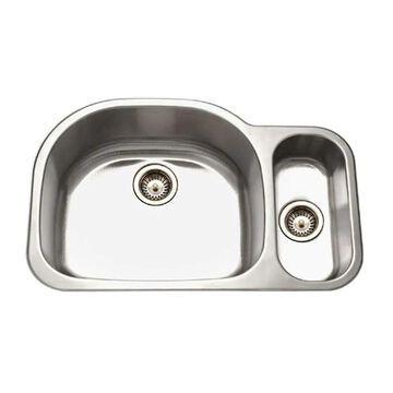 HOUZER Medallion Undermount 17.9375-in x 32-in Stainless Steel Double Offset Bowl Kitchen Sink | MG-3209SR-1