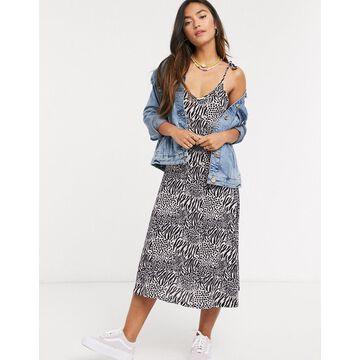 QED London cami strap slip dress in zebra print-Multi