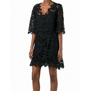 See by Chloe Black Womens Size 36 US 4 Floral Cutout Shift Dress