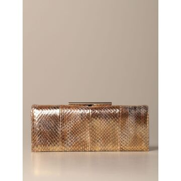 Rodo Clutch Bag In Leather With Laminated Elaphe Print