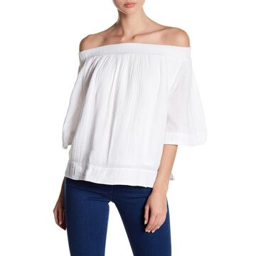 Three Dots Womens Blouse Bright Small Off The Shoulder
