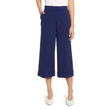 Anne Klein Marine Blue Women's Size 8 Cuffed Stretch Culottes