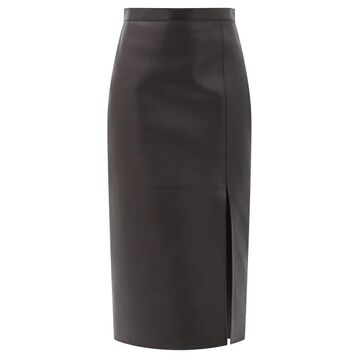 Valentino - High-rise Leather Pencil Skirt - Womens - Black