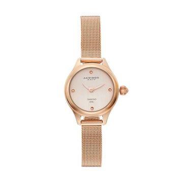 Akribos XXIV Women's Diamond Stainless Steel Mesh Watch