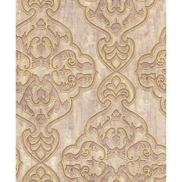 Brewster Elena Mauve Damask Wallpaper