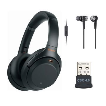 Sony WH-1000XM3 Wireless Noise-Canceling Over-Ear Headphones (Black) Bundle