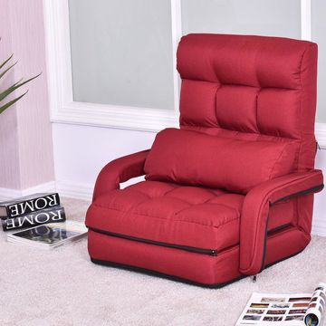 Costway Folding Lazy Sofa Lounger Bed Floor Chair Sofa with Armrests and pillow Red