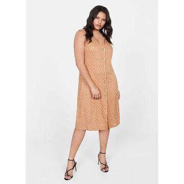 Violeta BY MANGO - Polka dot midi dress beige - 10 - Plus sizes