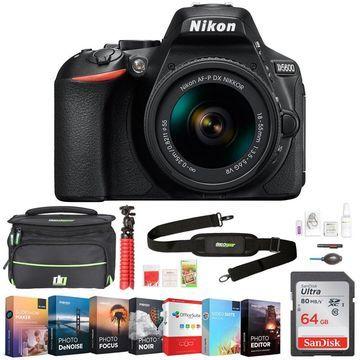 Nikon D5600 24.2MP DX-Format DSLR Camera w/ AF-P 18-55mm VR Lens + 64GB Bundle
