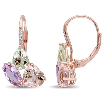 Miadora Rose Silver Multi-Gemstone and Diamond Accent Cluster Leverback Earrings