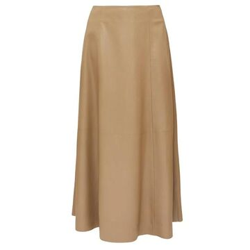 The Row - Timowa Grained-leather Midi Skirt - Womens - Camel