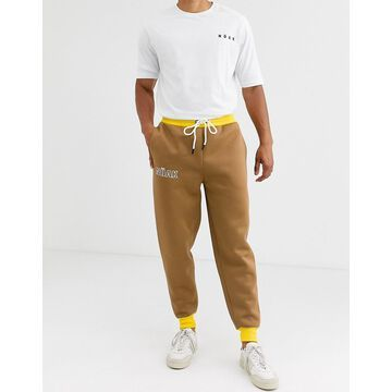 Noak jogger in camel with branding logo-Brown