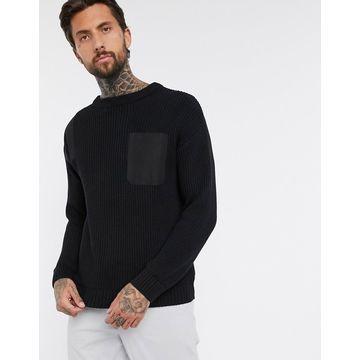 Bershka utility sweater with nylon details in black