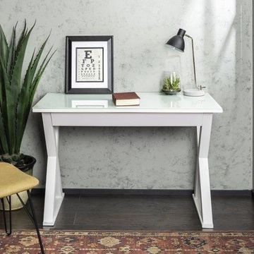 Walker Edison Metal Computer Desk with Drawer, White