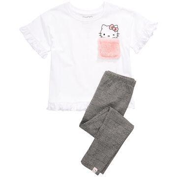 Little Girls Fuzzy-Pocket T-Shirt & Leggings Set