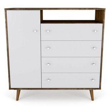 Manhattan Comfort Liberty 4-Drawer Sideboard in Rustic Brown/White