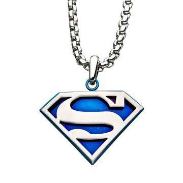 DC Comics Superman Blue Mirror Back Stainless Steel Logo Pendant