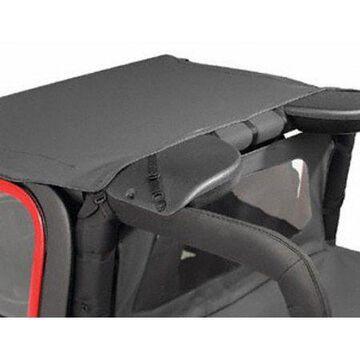 Bestop 52528-35 Jeep Wrangler Targa Style Header Bikini Top, Black Denim