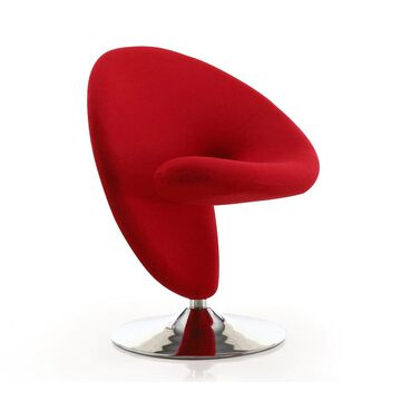 Manhattan Comfort Curl Modern Red and Polished Chrome Wool Accent Chair | AC040-RD