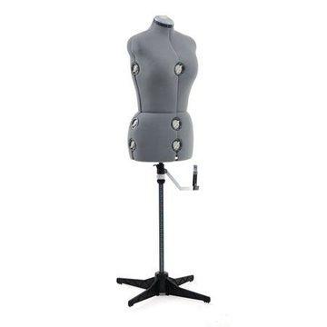 SINGER Adjustable Dress Form Mannequin Grey Size Medium/Large, Fabric-Backed with 12 Adjustments