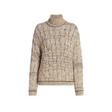 Piazza Sempione Lurex Cable Knit Turtleneck Sweater