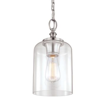 Feiss Hounslow Brushed Steel Modern/Contemporary Clear Glass Globe Mini Pendant Light