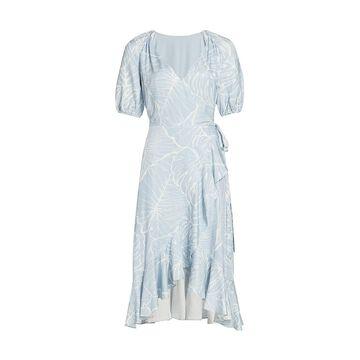 Marchesa Notte Short Puff-Sleeve V-Neck Linen Wrap Dress