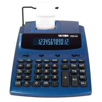 Victor 1225-3A Antimicrobial Two-Color Printing Calculator, Blue/Red Print, 3 Lines/Sec